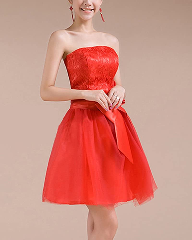 Mujer Vestido Elegante para Boda Ceremonia De Vuelo Encaje Floral Precioso Vestido Rojo XL: Amazon.es: Ropa y accesorios