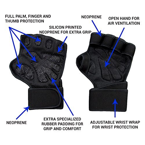 New Ventilated Weight Lifting Gloves with Built-In Wrist Wraps, Full Palm Protection & Extra Grip. Great for Pull Ups, Cross Training, Fitness, WODs & Weightlifting. Suits Men & Women, Black, Small