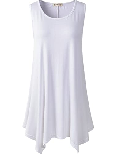 Lanmo Women Plus Size Solid Basic Flowy Tank Tops Summer Sleeveless Tunic