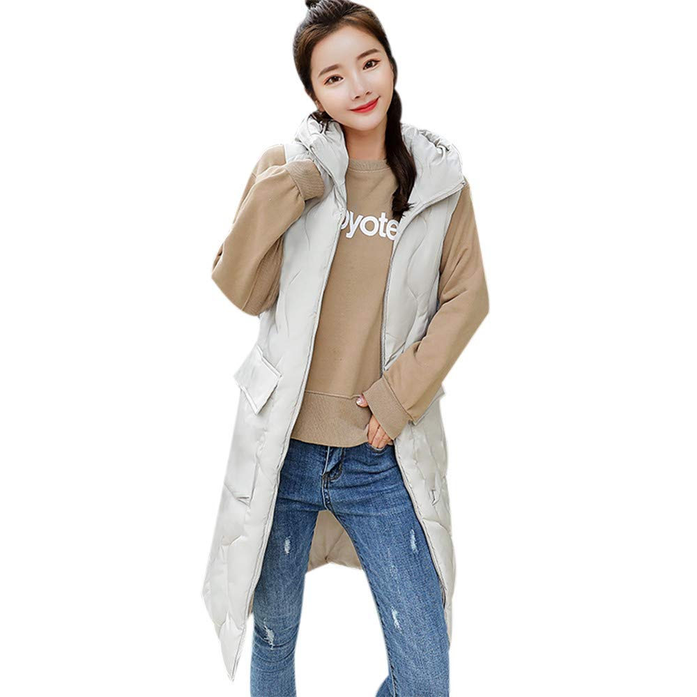PENATE Women's Down Vest Girls Long Slim Winter Warm Jacket Hooded Cotton Coat