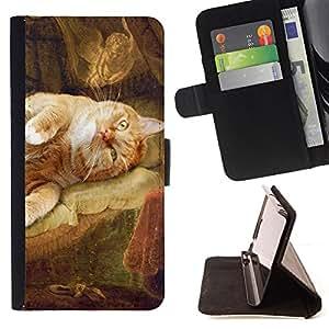 KingStore / Leather Etui en cuir / Apple Iphone 6 PLUS 5.5 / Rembrandt Danae Gato Pintura Arte amarillo