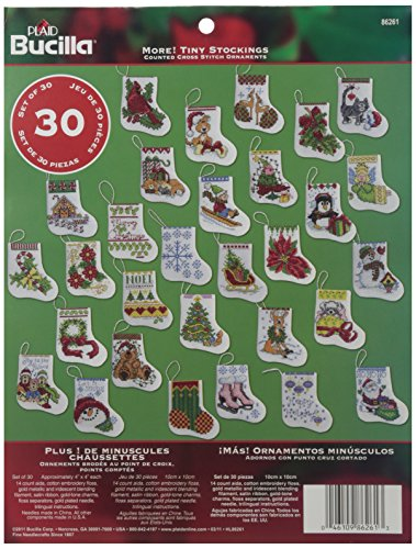 Bucilla Counted Cross Stitch Ornament Kit, 3.5 by 3.5-Inch, 86261 More Tiny Stockings (Set of 30) ()
