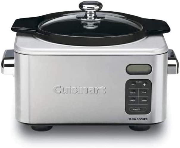 Cuisinart 4 QT Programmable Stainless Steel Kitchen Slow Cooker, Stainless Silver (Certified Refurbished)