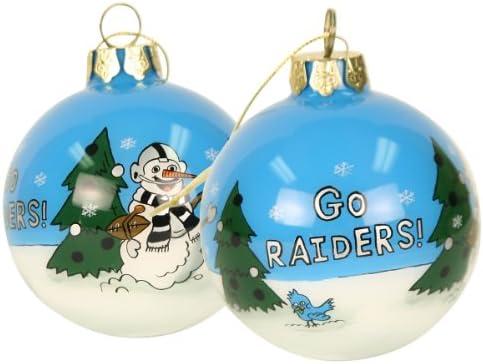 Oakland Raiders Christmas Ornaments.Amazon Com Blown Glass Hand Painted Sports Christmas