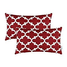 Pack of 2 CaliTime Bolster Pillow Covers Cases for Couch Sofa Home Decor, Modern Quatrefoil Accent Geometric, 12 X 20 Inches, Burgundy