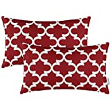 Pack of 2 CaliTime Throw Pillow Covers, Quatrefoil Accent Geometric
