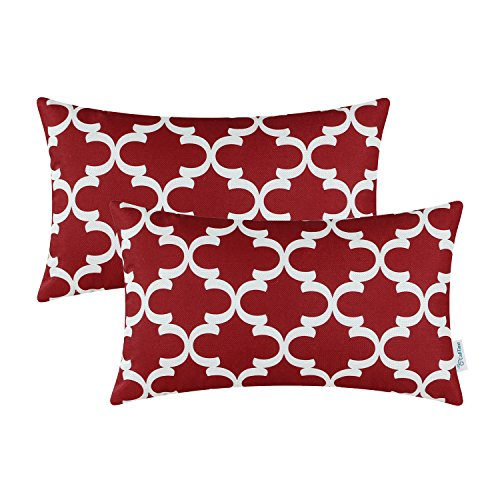 Outdoor Holiday Pillow (Pack of 2 CaliTime Bolster Pillow Covers Cases for Couch Sofa Home Decor, Modern Quatrefoil Accent Geometric, 12 X 20 Inches, Burgundy)