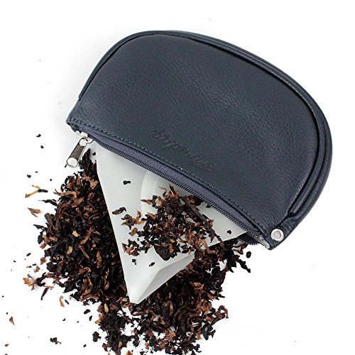 Pipe Tobacco Cigarettes (2nd Generation Leather Cigarette Smoking Pipe Tobacco Pouch Case Bag with Rubber Lining to Preserve Freshness(No Gap at end) Middle Size (3.75