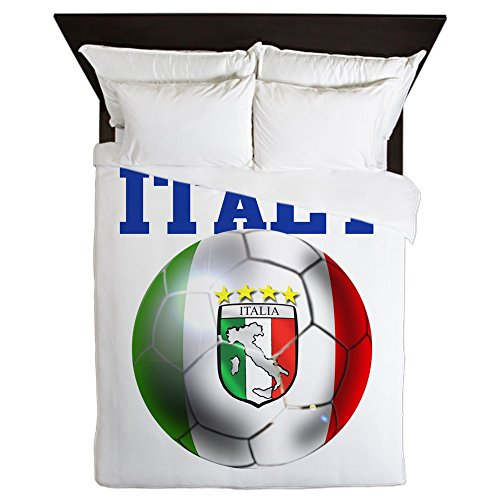 CafePress - Italy Soccer Ball - Queen Duvet Cover, Printed Comforter Cover, Unique Bedding, Microfiber by CafePress