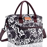 BALORAY Lunch Bag for Women Insulated Lunch Box with Adjustable Shoulder Strap,Water-Resistant Leakproof Cooler Lunch Tote Bag for Work/Picnic(G-206 White Flower)