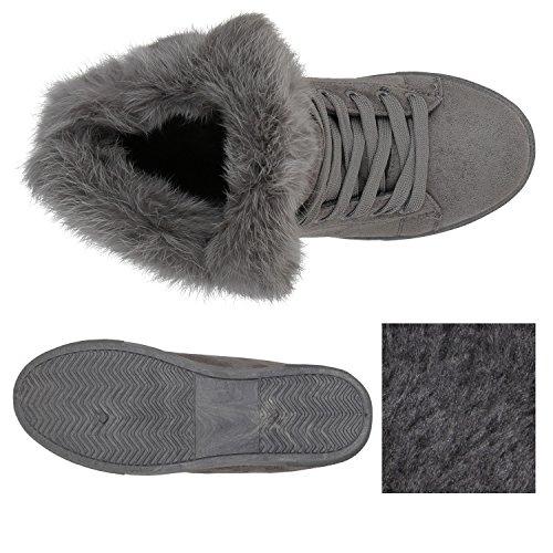 Stiefelparadies Damen Sneaker High Warm Gefütterte Sneakers Winter Schuhe Profilsohle Winterschuhe Schnürer Wildleder-Optik Turnschuhe Flandell Grau Amares