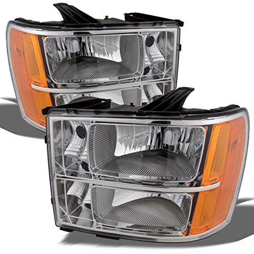 GMC Sierra New Body Style OE Replacement Chrome Bezel Headlights Driver/Passenger Head Lamps (Oem Replacement Body Parts)