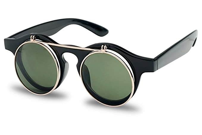 6573ca834d Amazon.com  Small Round Horn Rimmed Steampunk Flip Up Dark Circle Sunglasses  w  Clear Lens Glasses (Black w  Gold)  Clothing