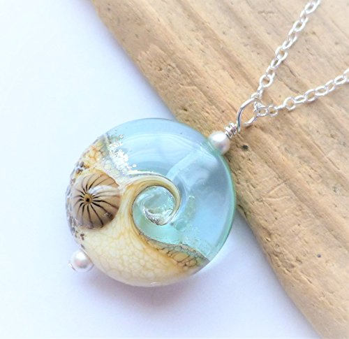 Wave Lampwork Bead (Ocean Wave Lampwork Glass Pendant Necklace, Handmade Beach Jewelry, Sterling Silver Chain)
