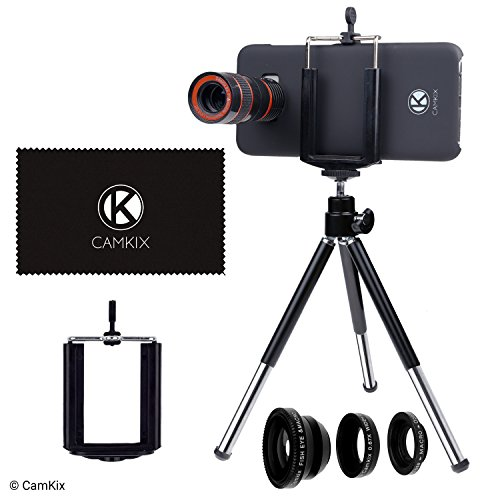 (CamKix Lens Kit Compatible with Samsung Galaxy S8 and S8 Plus - 8X Telephoto Lens, Fisheye Lens, Macro Lens, Wide Angle Lens, Tripod, Phone Holder, Hard Case (2X), Velvet Bag and Cleaning Cloth)
