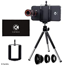 CamKix Lens Kit for Samsung Galaxy S8 and S8 Plus - 8x Telephoto Lens, Fisheye Lens, Macro Lens, Wide Angle Lens, Tripod, Phone Holder, Hard Case (2x), Velvet Bag and Cleaning Cloth
