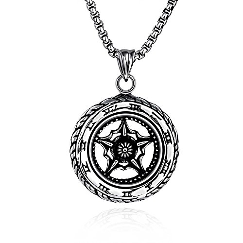 Stringing Chili Peppers (The Starry Night Creative Tire Shape Men's Titanium Steel Pendant Chunky Style Popular Necklace)