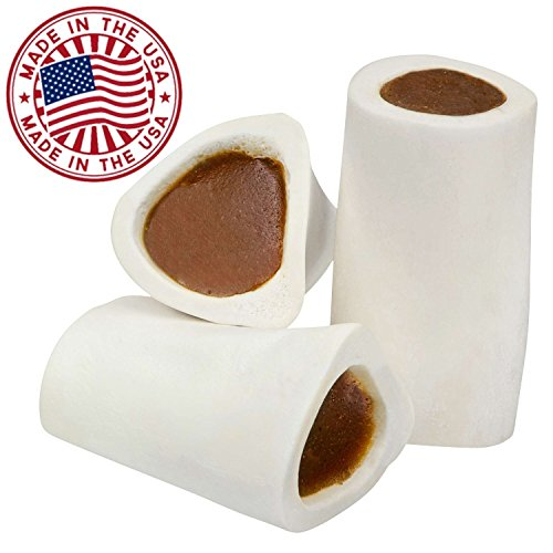 Beef Stuffed (Filled Dog Bones (Flavors: Peanut Butter, Cheese, Bacon, Beef, etc.) Made in USA Stuffed Bulk 3 to 6