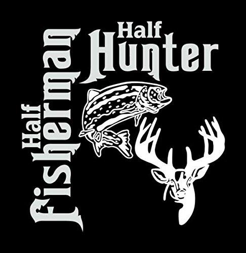 Half Fisherman Hunter Fishing Hunting Buck Deer (In Fisherman Fishing Calendar)