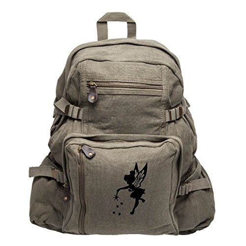 Tinker Bell Fairy Peter Pan Army Sport Canvas Backpack Bag Olive & Black, Large