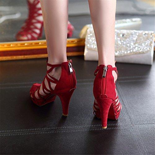 SHINIK Zapatos de las mujeres del verano nuevas sandalias de tacón alto del ante del Alto-top zapatos de tacones altos Comfort Novedad Zapatos para caminar rojo, verde, negro B