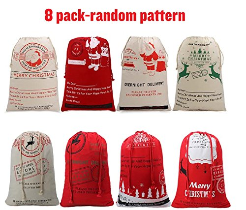 Christmas Sack From North Pole Large Christmas Present Bags Reindeer Delivery Bag Xmas Gifts Wrap For Kids Customization (8 PACK)