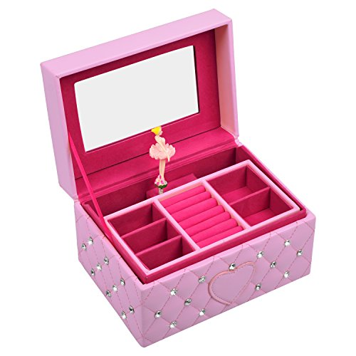 SMONET Musical Jewelry Box Ballerina Girl's Jewel Storage Case Pink For ()