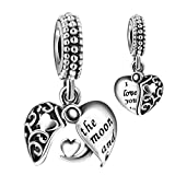 Angemiel 925 Sterling Silver I Love You to The Moon & Back Heart Dangle Openwork Charms Bead for European Snake Chain Bracelets