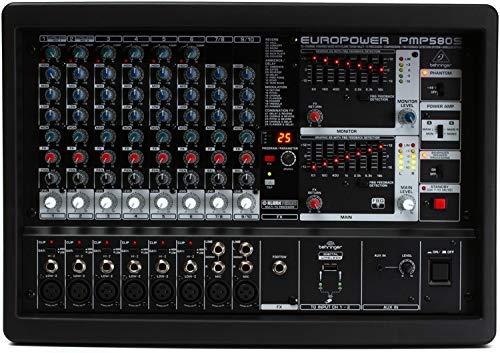 (BEHRINGER PMP580S 500-Watt 10-Channel Powered Mixer with Klark Teknik Multi-Fx Processor Compressors Black)
