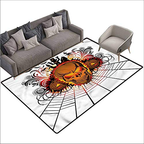 Polyester Non-Slip Doormat Rugs Colorful Halloween,Skull Witch 36