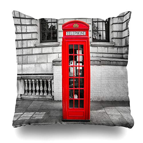 Ahawoso Throw Pillow Cover Capital Telephone Red Phone Booth London Culture Box Antique Attraction Black Design Vintage Home Decor Pillow Case Square Size 20x20 Inches Zippered Pillowcase
