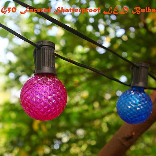 Commercial Grade Heavy Duty LED Patio String Lights, G50 Diamond Faceted Shatterproof LED Bulbs, Home Decor Weatherproof Globe Lights for Backyard Garden Gazebo Bistro, 22 Ft 15 Lights (Multicolor) from YULETIME