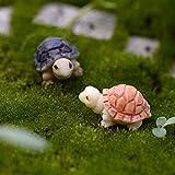 JiaUfmi 2 Pieces Miniature Fairy Garden Mini Turtles Ornament Dollhouse Plant Pot Figurine DIY Decor Home Decoration