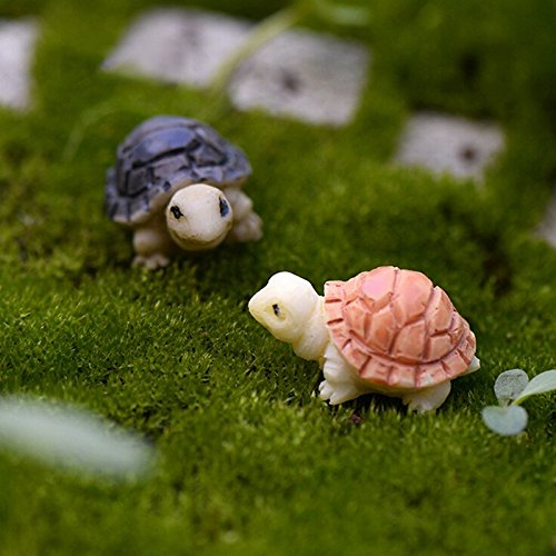 BESTIM INCUK 2 Pieces Miniature Fairy Garden Mini Turtles Ornament Dollhouse Plant Pot Figurine DIY Decor Home Decoration