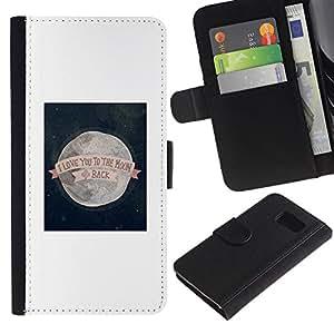 Billetera de Cuero Caso Titular de la tarjeta Carcasa Funda para Samsung Galaxy S6 SM-G920 / I Love You To The Moon Valentines / STRONG