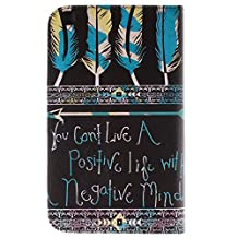 Samsung Tab3 8 Inch Cases and Covers - Slim-Book Style Case PU Leather Stand Cover for Samsung Galaxy Tab 3 8.0 8-inch SM-T310 Tablet Folio Case Protective Skin Sleeve (Feather & Words)