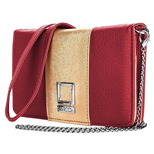 Women's Horizontal Handbag Wallet Clutch Crossbody Bag for Apple iPhone X / 7 8 Plus/Samsung Galaxy Note 8 / S8 Active / S8+ / LG V30 G6 / Motorola G5s G5 Plus/Nokia 5 6 8 (Wine/Gold)