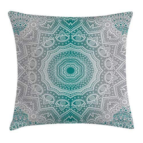 Ambesonne Grey and Teal Throw Pillow Cushion Cover, Mandala Ombre Sacred Geometry Occult Pattern with Flower Lines Display Artwork, Decorative Square Accent Pillow Case, 16 X 16 Inches, Teal Grey