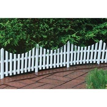 Amazon Com White Garden Picket Fence White 24 Quot Long Pack