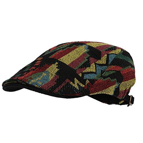 WITHMOONS Meshed Aztec Tribal Pattern Linen Newsboy Hat Flat Cap LD3044 (Black)