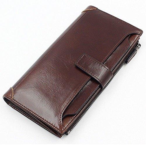 Long Coffee soft Wallet LIGYM buckle wallet zipper LIGYM men's Long qw47xvEBA