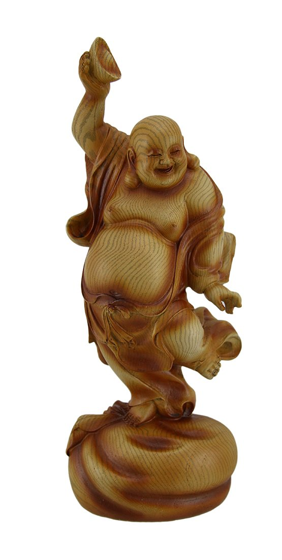 Zeckos Happy Buddha Dancing On Wealth Bag Holding Bowl Wood Look Statue