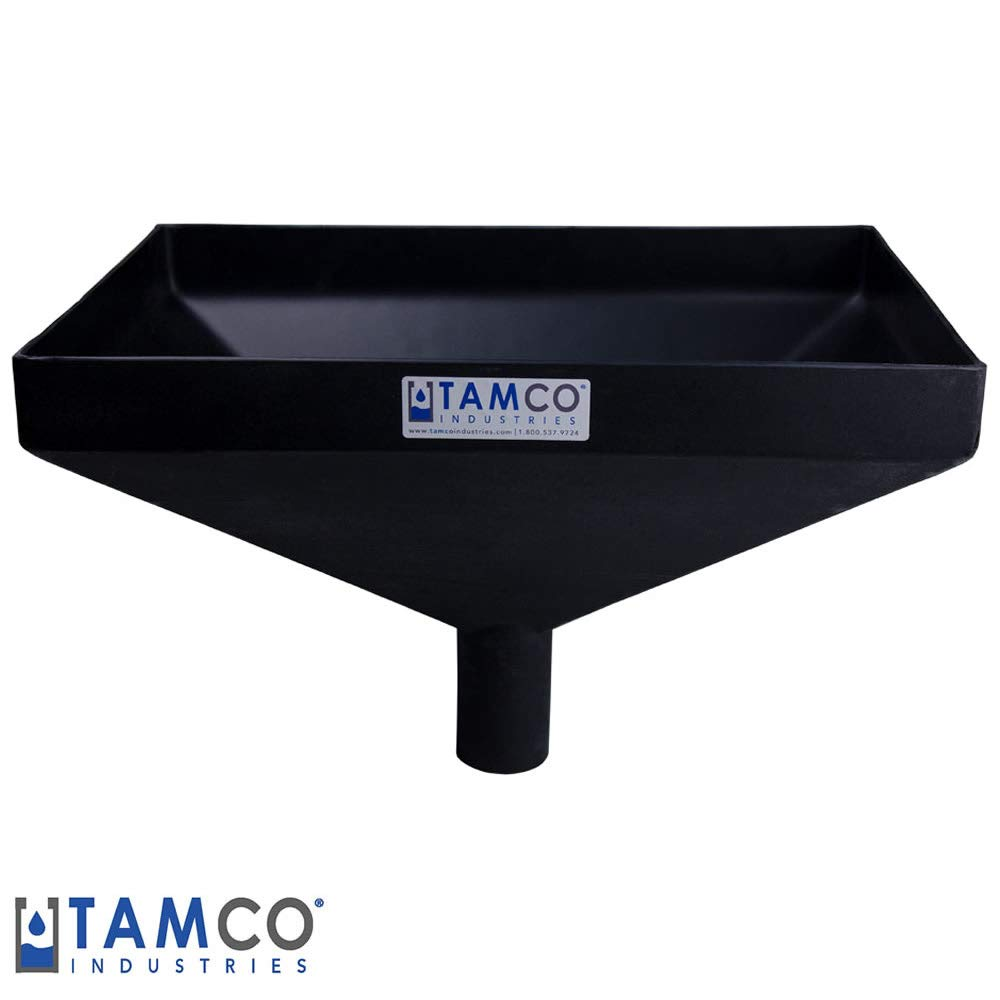 20'' x 13'' Rectangular Black Heavy Duty Tamco Linear Low Density Plastic Funnel with 2-1/2'' OD Center Spout (1 Funnel)