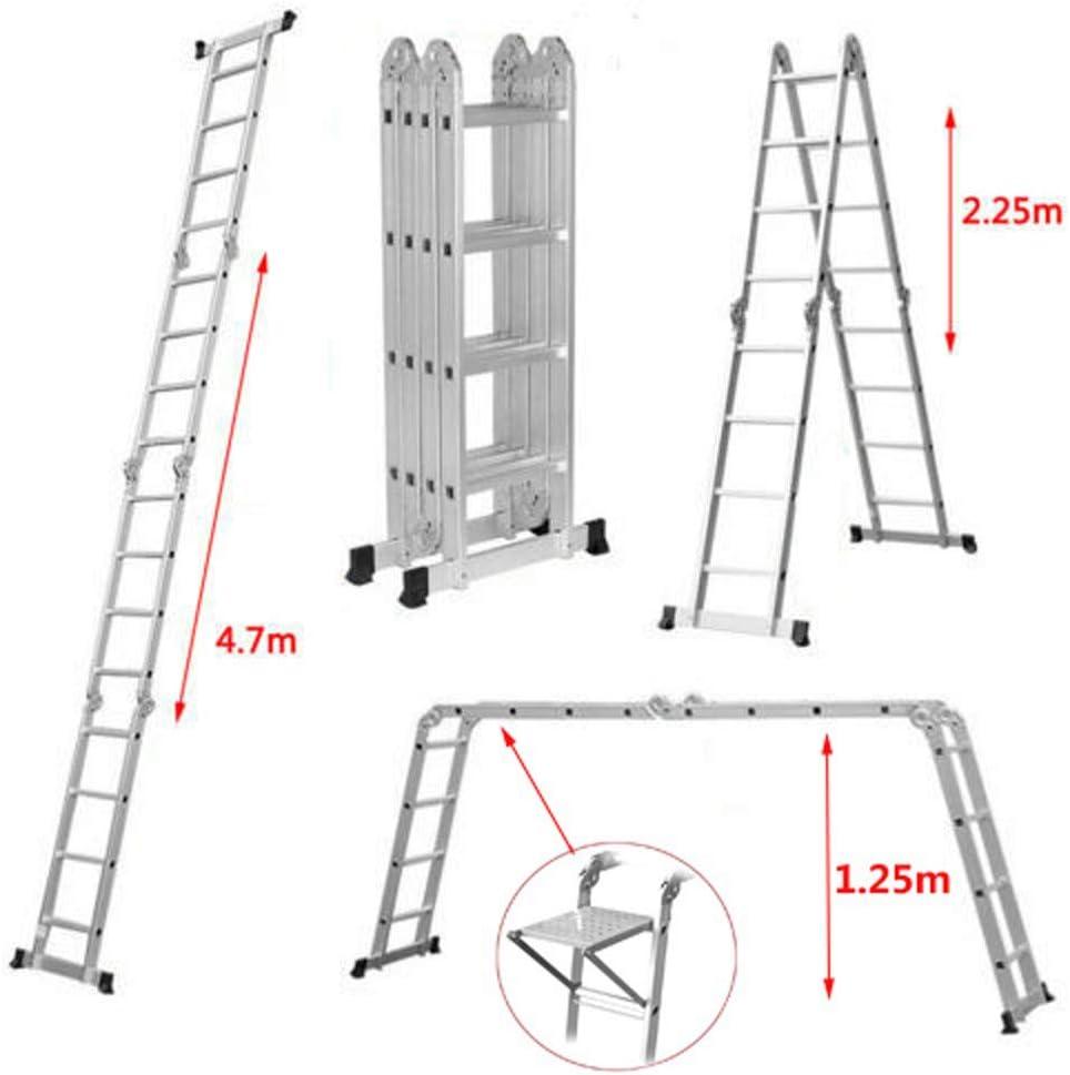Escalera plegable de 4 secciones de aluminio de 4,7 m, 14 en 1, multifunción, extensible, para construcción, trabajo, escalera con bandeja de herramientas gratuita, capacidad de 330 libras: Amazon.es: Bricolaje y herramientas