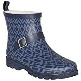 Capelli New York Ladies Shiny Diamond Geo Printed Short Lined Rain Boot Navy Combo 7