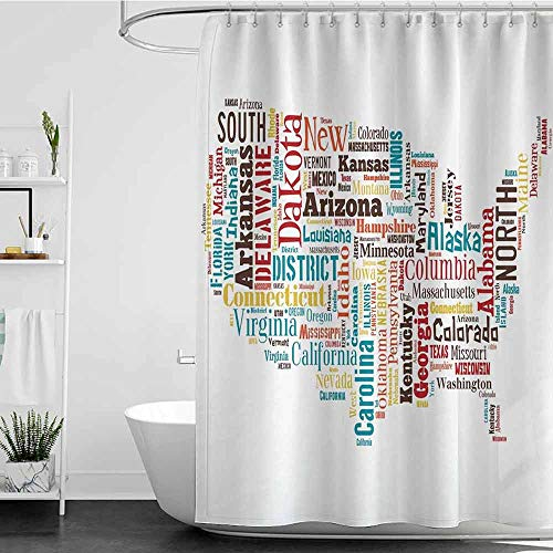 Shower Curtains for Bathroom Peach Americana for Home Decorations Collection,USA United States America Map Cities and Towns California Missouri Virginia,Teal Brown Yellow W72 x L84,Shower Curtain fo]()