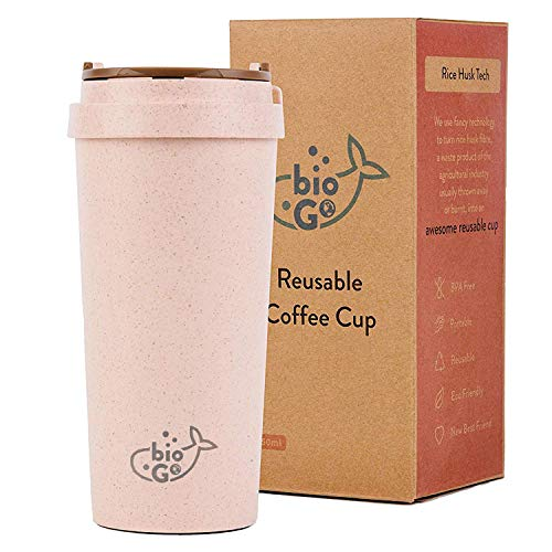 bioGo Cup (16oz) | Rice Husk Fibre | BPA-Free, Double Wall Insulation Reusable Coffee Cups | Office, Car, On-The-Go Travel Mug | Screw Tight Lid, Secure Mouthpiece | Textured Grip | (Faded pink)