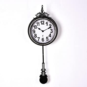 LIYJG Vintage Antiguo Redondo Reloj De Pared Sala De Estar Decoración De Hierro Forjado con Péndulo,Black: Amazon.es: Hogar