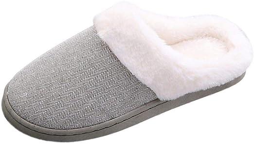 HIUGHJ Zapatillas de casa para Mujer Zapatillas de Felpa Suaves y ...