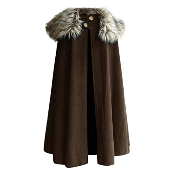 Mens Winter Warm Gothic Wool Faux Fur Collar Long Cape Cloak Vintage Coat Irregular Hem Hoodie baskuwish Cloak Coat for Men